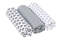 Lässig Swaddle Burp blanket 85x85 Little Chums Stars white