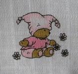 LTZ Textilní plenka s potiskem 70x70cm 5ks - medvídek růžový