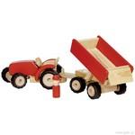 Červený traktor s vlečkou, dřevěná hračka pro kluky