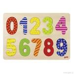Číslice 0 – 9 – vkládací puzzle ze dřeva