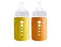 Cherub Baby Skleněná kojenecká lahev s obalem/duopack - žlutá/oranžová