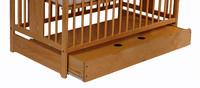 Tomi Dětská dřevěná postýlka TOMI III - medová se šuplíkem