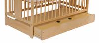 Tomi Dětská dřevěná postýlka TOMI III - přírodní se šuplíkem