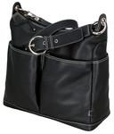OiOi Hobo Diaper Bag 2 pocket Leather - Black / Zebra lining