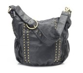 OiOi Hobo Faux Leather Diaper Bag - Black Studded Hobo