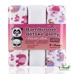 T-Tomi Bambusové vysokogramážní pleny s potiskem 3 ks - růžoví sloni