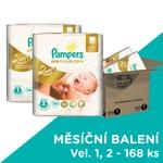 Pampers jednorázové pleny Premium Care 1 Newborn 88 ks + 2 Mini 80 ks, 168 ks, měsíční balení